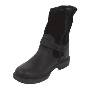 Men's black leather high boots with lamb fur lining 32799