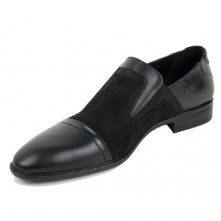 Men's evening shoes black suede and leather