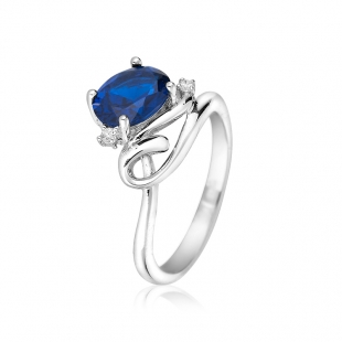 Silver ring with sipphire and zircons SAP167R Swan