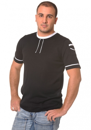 Black shortsleeve wooven top with strings Z-10