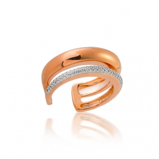 Silver ring with gold plate and zircons  JT959R Swan