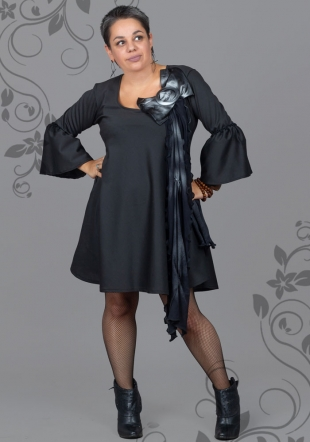 Dress with wide sleeves and decoration plus size fashion ILINA Fashion
