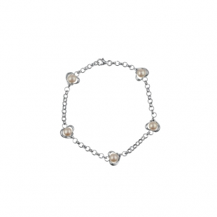 Silver bracelate with fresh water white pearls ISL0091 Swan
