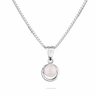 Silver necklace with a round shape circle with natural white pearl GP050W Swan