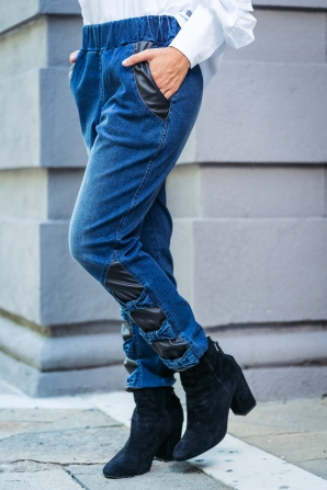 Women's jeans with ribbons and leather inserts Avangard