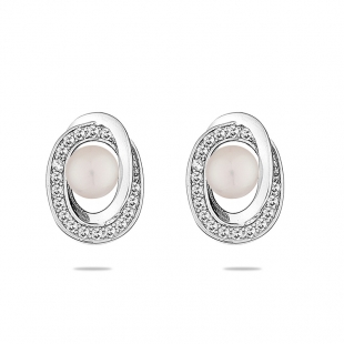 Silver earrings with zircons and freshwater white pearl LA675EW Swan