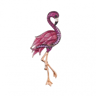 Silver and gold pink flamingo brooch with zicons Swan