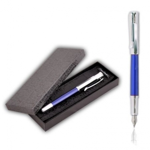 Luxury Fountain Pen In Blue And Silver Balzak Pierre Cardin