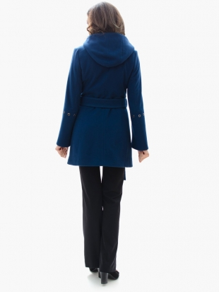 Lady coat in blue with eco collar 11911L-6