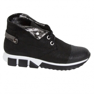 Women's black nappa leather boots 20451