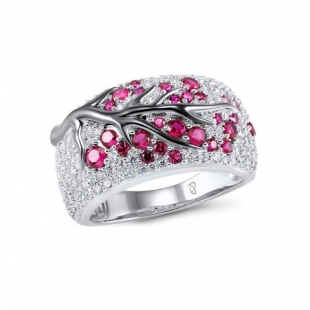 Silver ring with cherry tree element PJ305R Swan