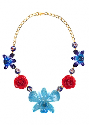 My Happy Blue Garden Necklace With Real Flowers Dannyra Jewels