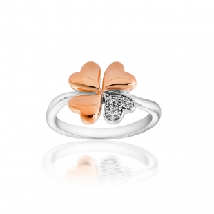 Silver ring with gold plated clover with zicons JT30R Swan