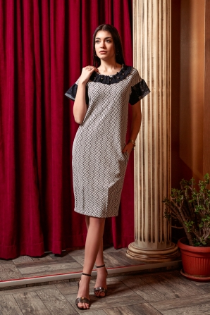 Ladies formal dress in black and white with pockets Avangard
