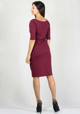 Burgundy dress with attractive decoration RUMENA