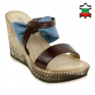 Women's blue leather flip-flops with white suede strap 16004taba
