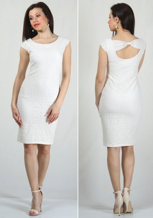 White lace dress with ribbon RUMENA