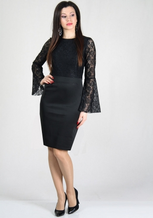 Evening black lace top dress with funnel sleeves RUMENA