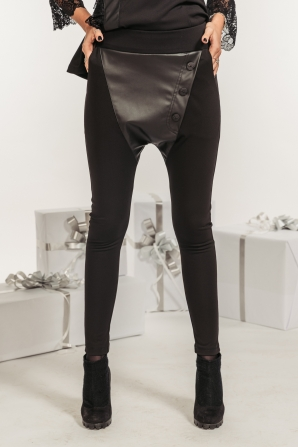 Black women's trousers with a leather element Avangard