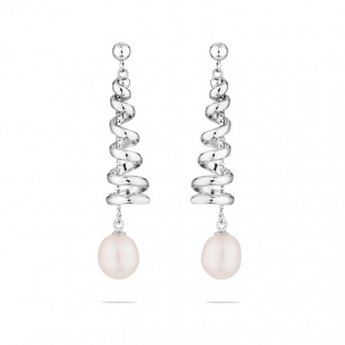 Silver earrings spirals with freshwater white pearl SE0210W Swan
