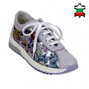 Women's lilac leather trainers with floral print 19174