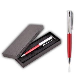 Luxury Pen In Red And Silver Balzak Pierre Cardin