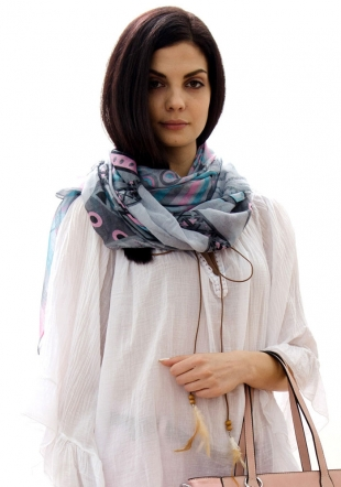 Women's grey scarf with pink and blue elements PIMAVERA