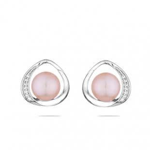 Silver earrings with natural pink pearl and zirons LA924EP Swan