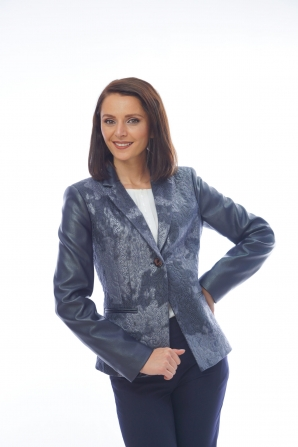 Women's dark blue jacket with leather sleeves 42003-483-480