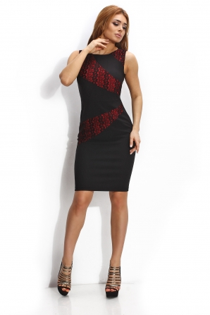 Dress in black with red lace elements