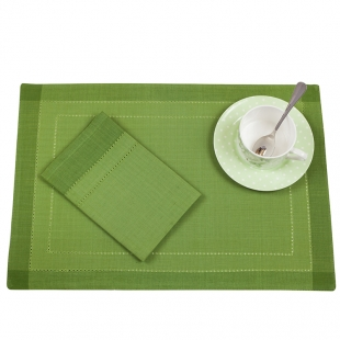 Cotton Mats And Napkins Set In Green Hues Lancaster