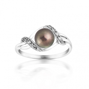 Silver ring with black freshwater pearl and zircons SR0022B Swan