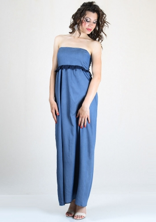 Long jeans dress with lace detail RUMENA