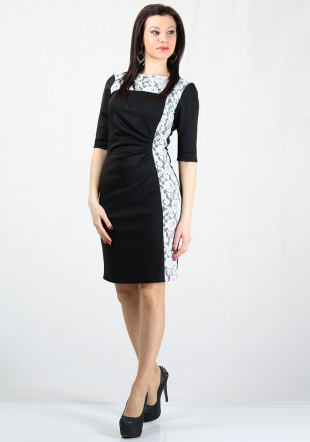 Women's black dress with side white lace elements RUMENA