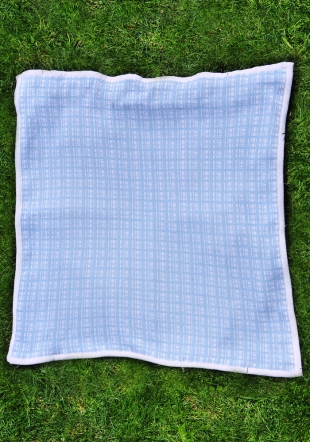 Blue checked wooven blanket