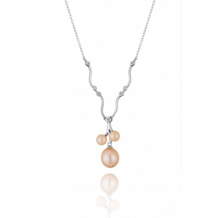Silver necklace with natural pink pearls and zircons CAA044P Swan