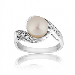 Silver ring with white freshwater pearl and zircons SR0021W Swan