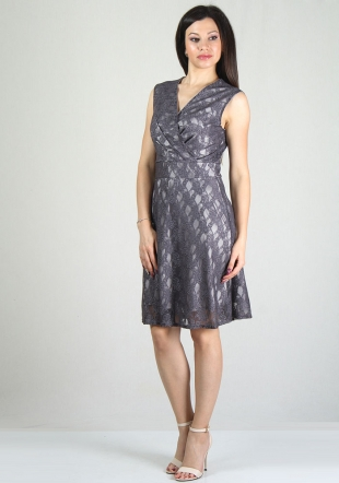 Purple lace dress with V-neck RUMENA