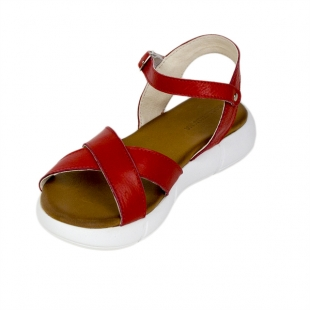 Women's sandals made of genuine leather in red with high sole 21343