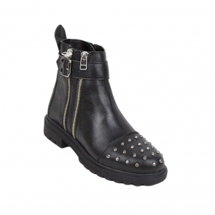 Black high leather boots with caps 34249