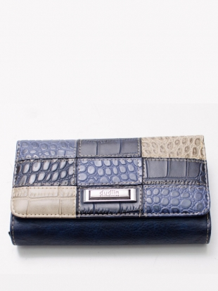 Elegant dark blue leather wallet M502