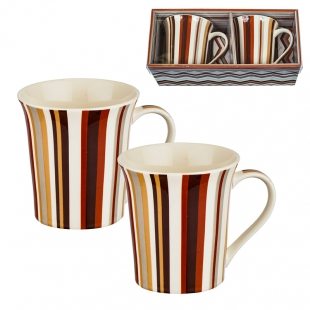 Two Coffee/Tea Mugs Set With Colored Stripes New Wish
