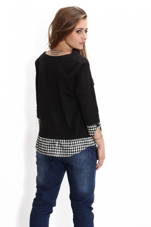 Ladies black blouse with ribbon Avangards