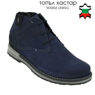 Men's blue nubuck leather boots with elastic on back 32543