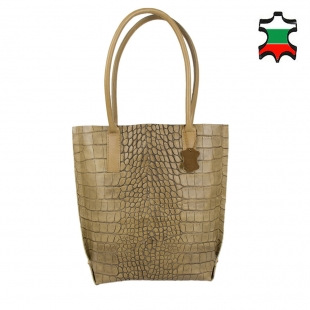 Women's beige croco print leather bag 19266