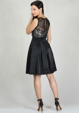 Women's dress with roses lace top with gold satin lining and black satin skirt RUMENA
