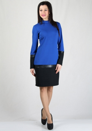 Blue dress with black endings and leather bands RUMENA