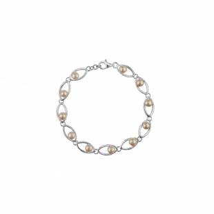 Silver bracelate with fresh water white pearls ISL0038W Swan