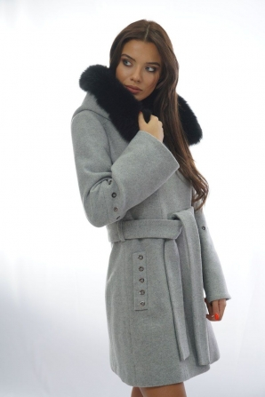 Gray women's coat with leather collar Radeks