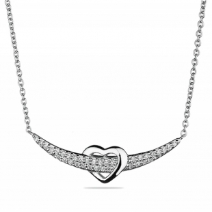 Silver necklace with zircons MR2445N Swan